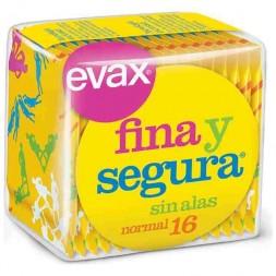 COMPRESAS HIGIENICAS FEMENINAS EVAX FINA Y SEGURA NORMAL 16